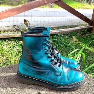 Dr Marten patina teal blue green black 1460 combat boots size 7